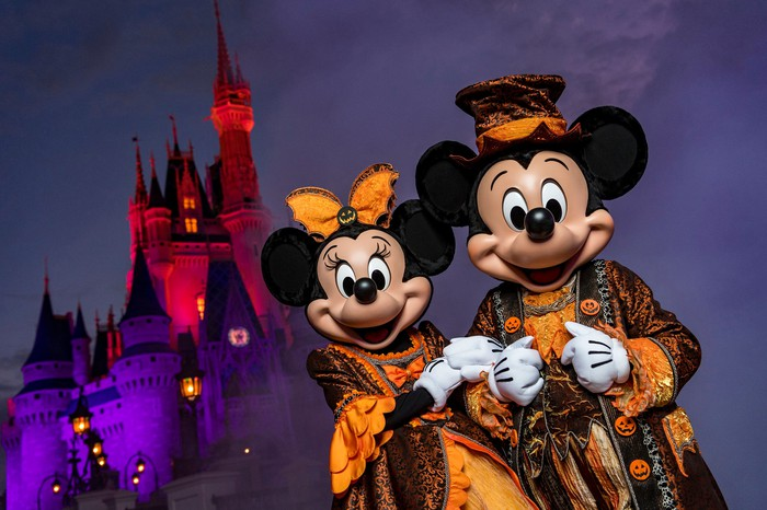 Mickey Mouse and Minnie Mouse in front of the Magic Kingdom castle