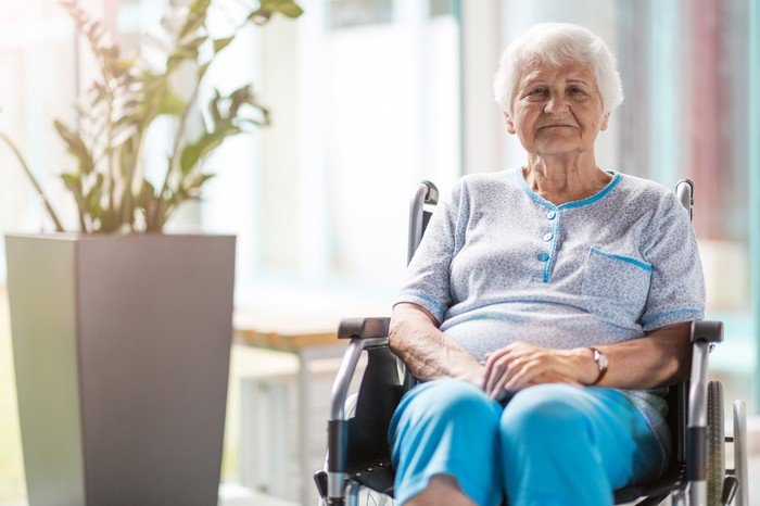 Older woman in wheelchair