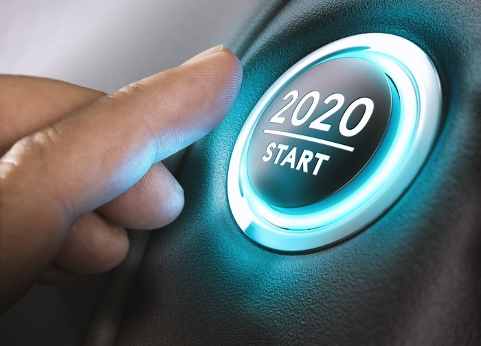 "Someone about to push a button labeled ""2020 start"""
