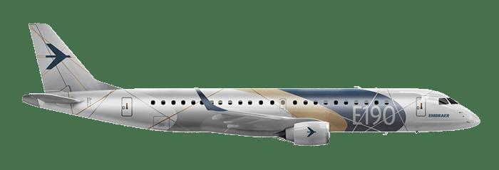 Side view of Embraer E190 jetliner.