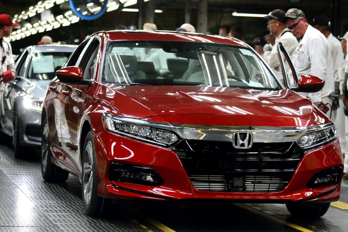 Honda Accord sedans on the Marysville factory's assembly line.
