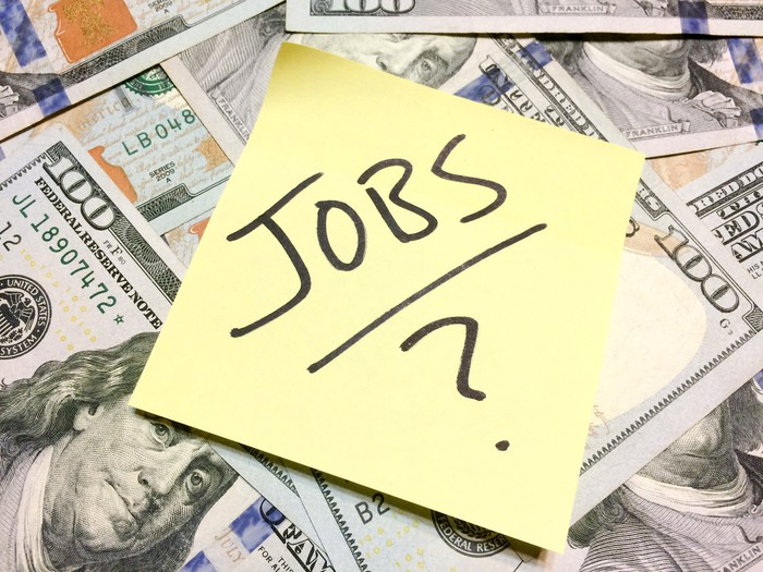 The word jobs with a question mark on a yellow sticky note on stop of hundred-dollar bills