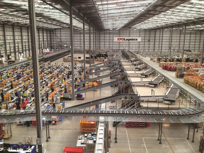 Wide view of an XPO automated warehouse facility.
