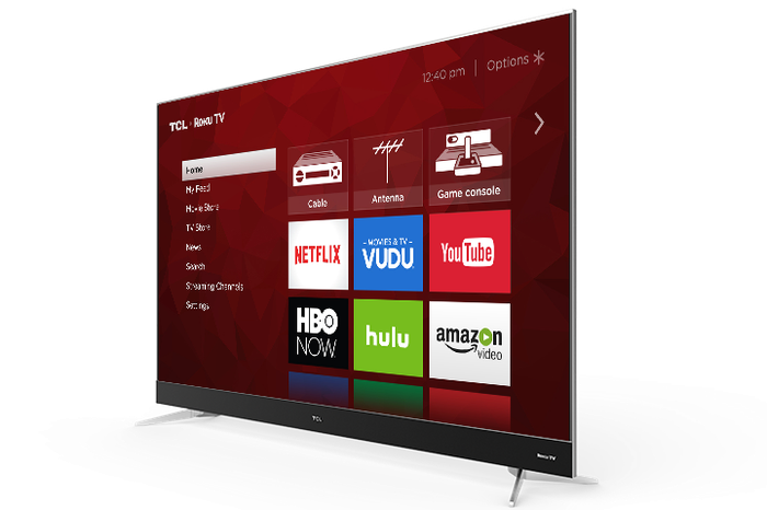 A Roku TV from TCL showing the Roku home screen