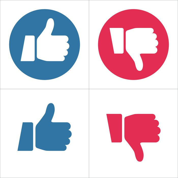 Facebook thumbs up and down icons in red and blue.