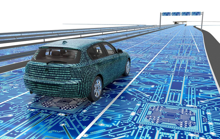 A vehicle covered in computer code on a road laced with computer chips.