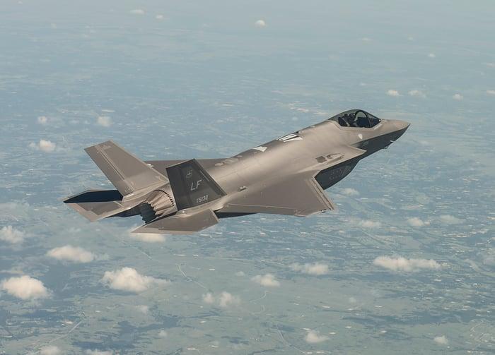A F-35 in flight.