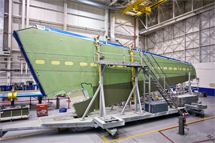 A wing assembly in the manufacturing facility.