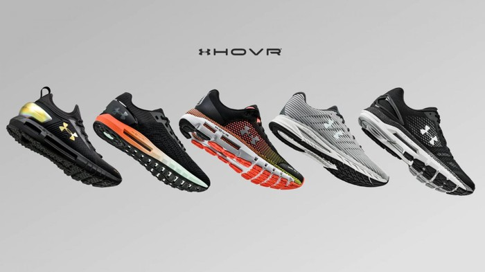 Five Under Armour Hovr shoes in a line