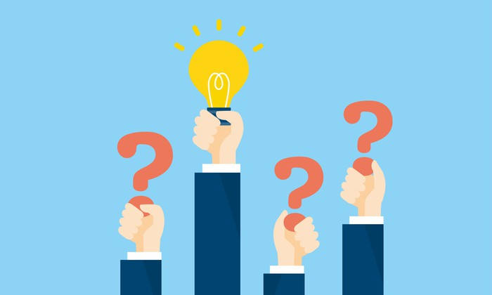 Three hands raised holding question marks and one holding a light bulb representing a bright idea.