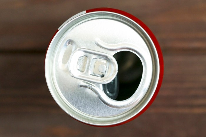 Overhead view of a beverage can.
