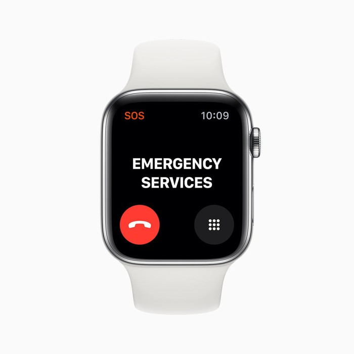 An Apple Watch with the words emergency services on the screen.