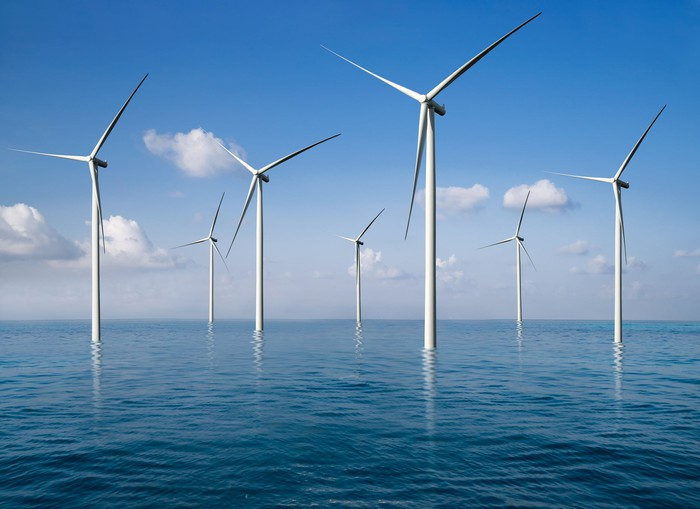 Offshore wind tubines.