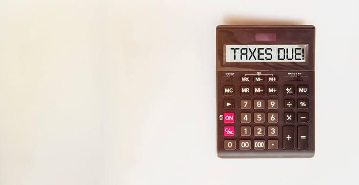 Calculator screen reads Taxes Due