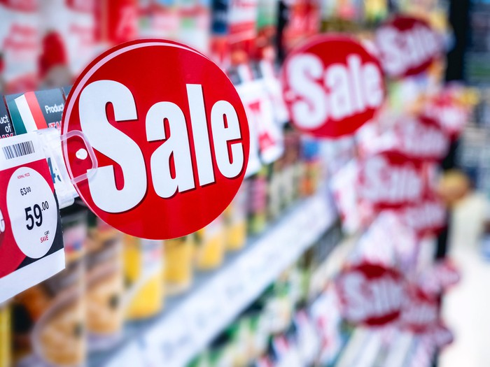 Sale signs in a store