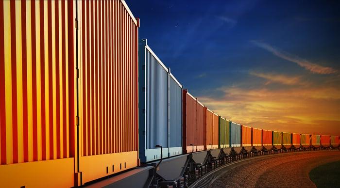Freight train carloads.
