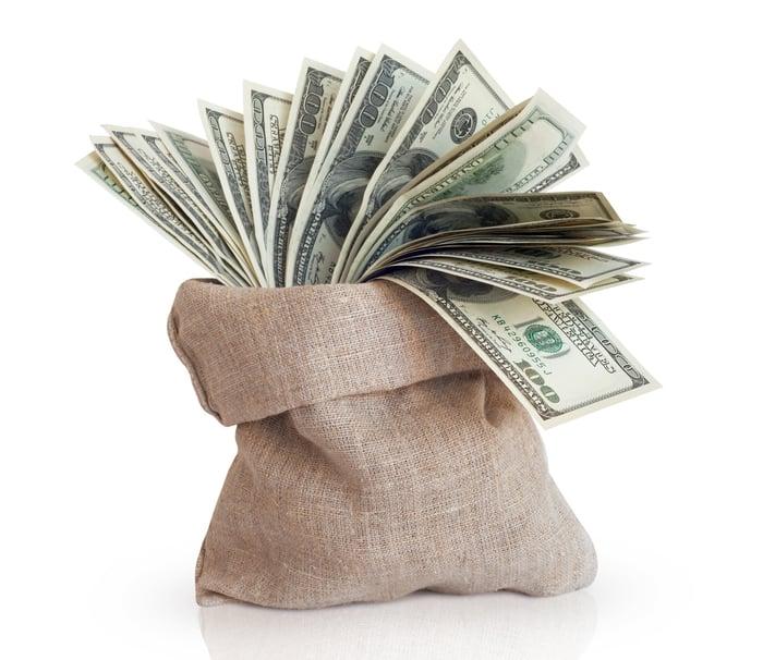 A burlap bag full of one hundred dollar bills.