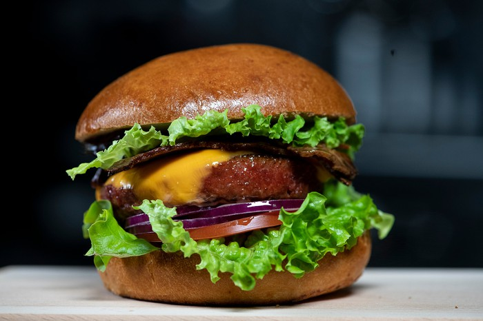 Nestle's plant-based Triple Play cheeseburger