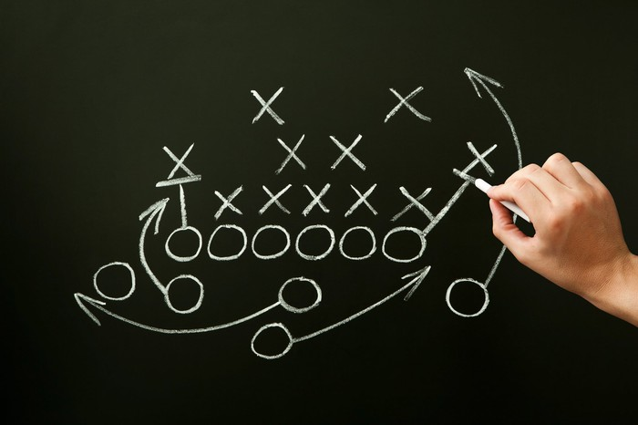 Man's hand drawing a football play on chalkboard.