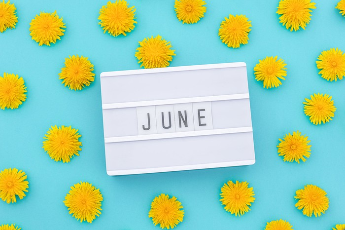 The word June written on a letter board surrounded by yellow dandelion flowers on a blue background.