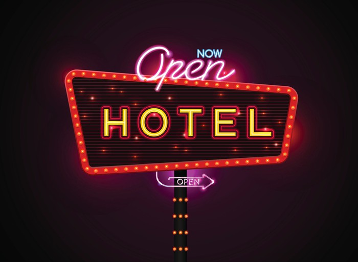 An open hotel sign.