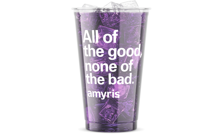 Cup containing purple liquid and ice, with text on the side.