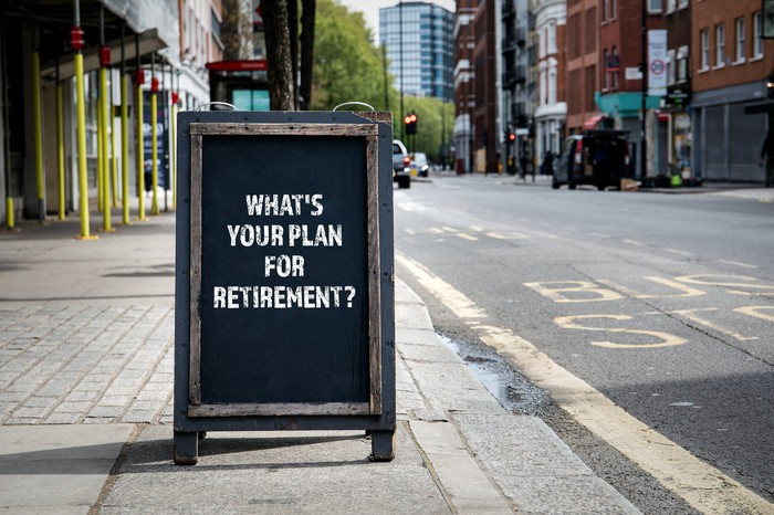 A wooden sign on a sidewalk in a city that says What's Your Plan for Retirement?
