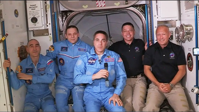 Current Russian and American ISS crew broadcast from ISS with new arrivals from SpaceX Crew Dragon Endeavour.