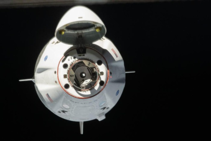 Head on view of SpaceX Crew Dragon as it approaches ISS for docking.