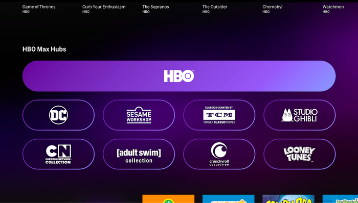 a TV screenshot shows links to various hubs for the content available on HBO Max streaming service.