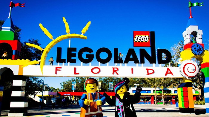 The Legoland Florida entrance with mini-figures from The Lego Movie in the foreground.