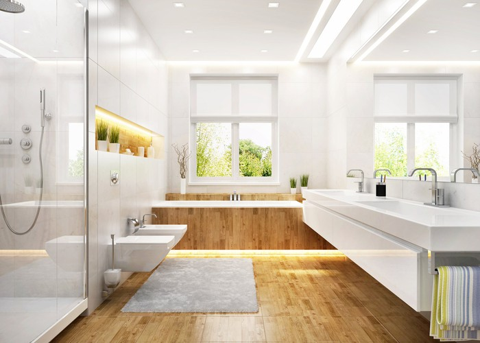 A bathroom with modern furnishings.
