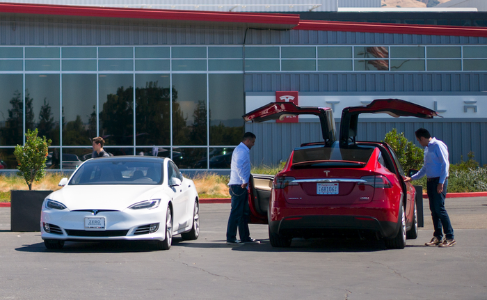 A Model S and Model X outside of Tesla's factory in California.