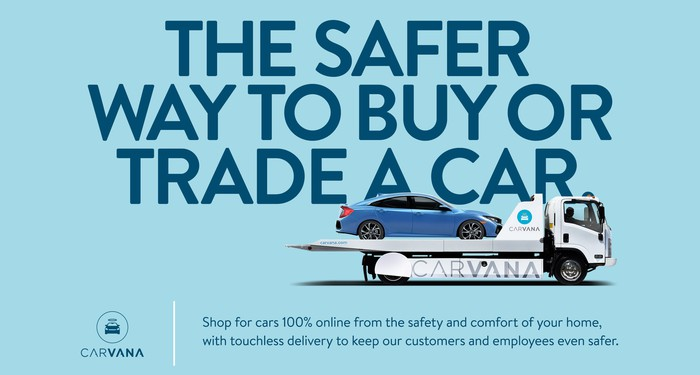 Carvana graphic touting a safer way to buy cars online