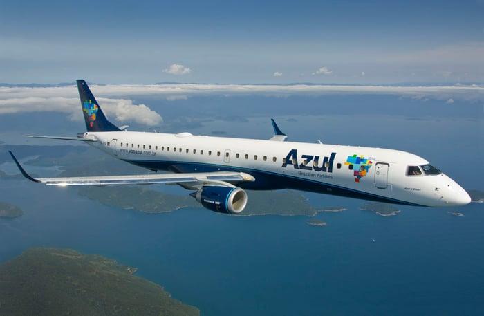 An Azul plane in flight.
