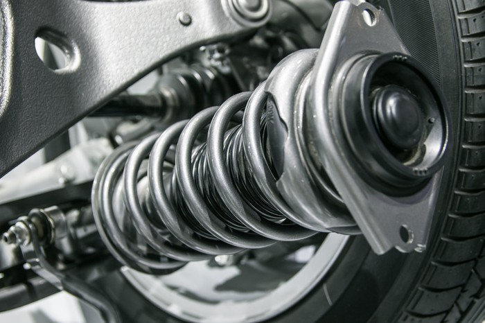 Close up of an automotive axle.