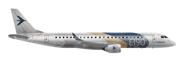 A rendering of Embraer's E190 jet.