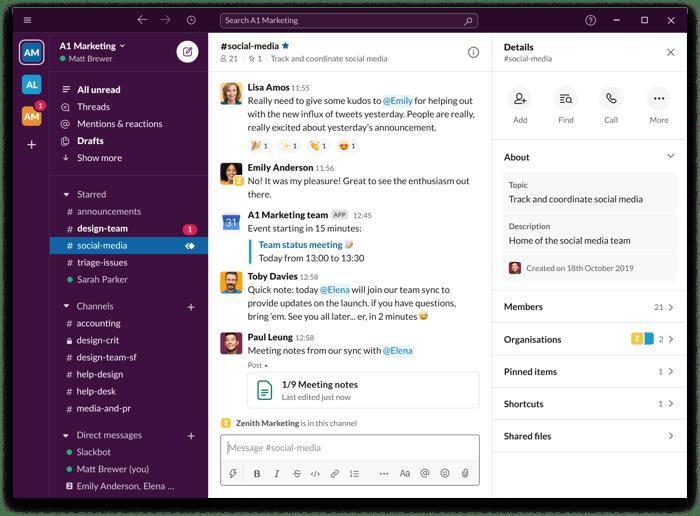 A screenshot of  Slack's PC interface.