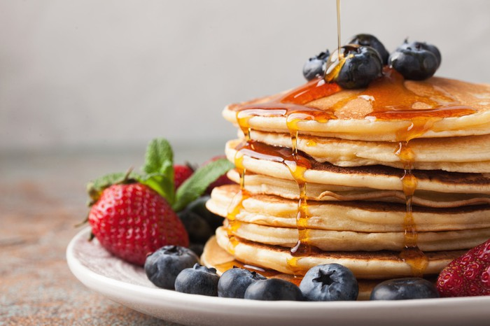 A plate full of pancakes