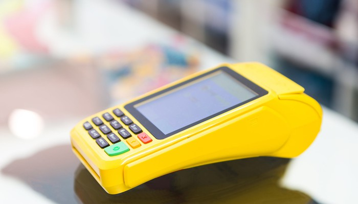 A credit-card processing machine.