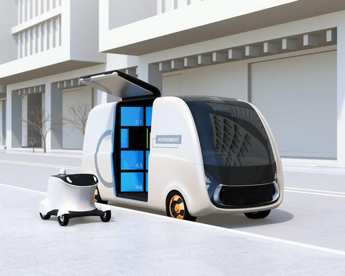 Concept art of an autonomous electric delivery van next to a rolling delivery drone