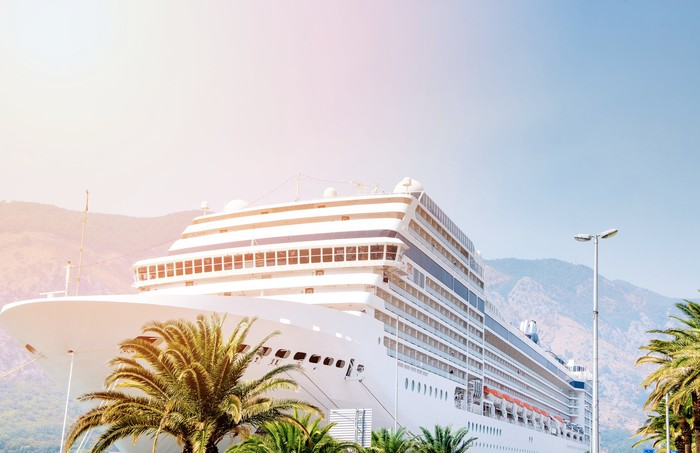Cruise ship docked in a tropical port viewed from the shore.