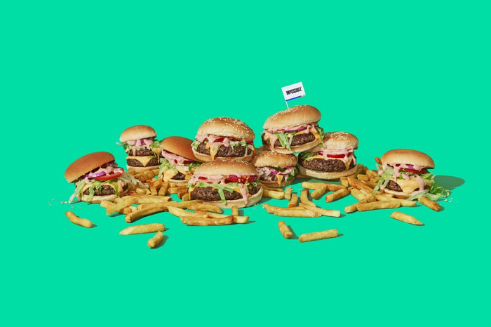 An array of Impossible burgers and fries