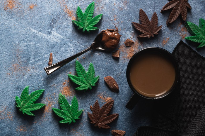 cannabis infused edible chocolate leaves with beverage