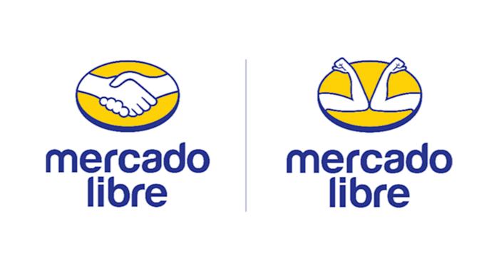 Two versions of MercadoLibre's logo, one with a handshake and one with an elbow bump.