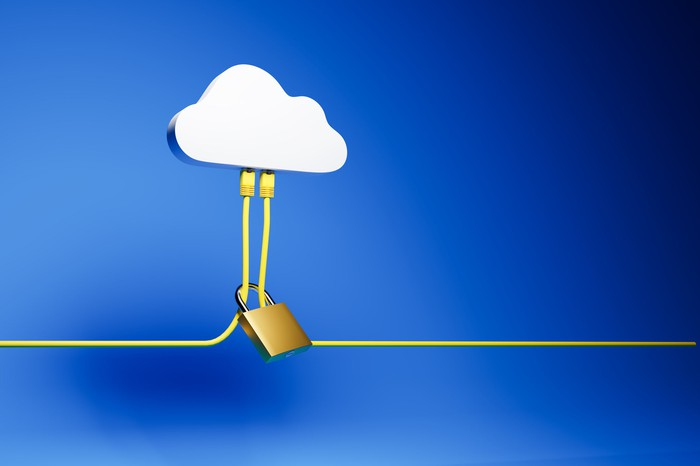Two yellow Ethernet cables are plugged into a cloud-shaped hub on a blue background and held together by a closed padlock.