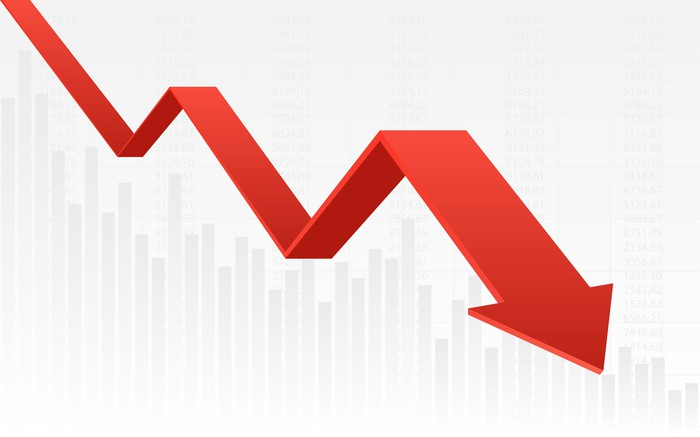 A 3D rendering of a red charting arrow pointing downward.