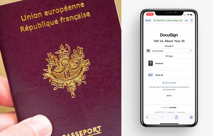 I person using DocuSign Identity to record their passport data.