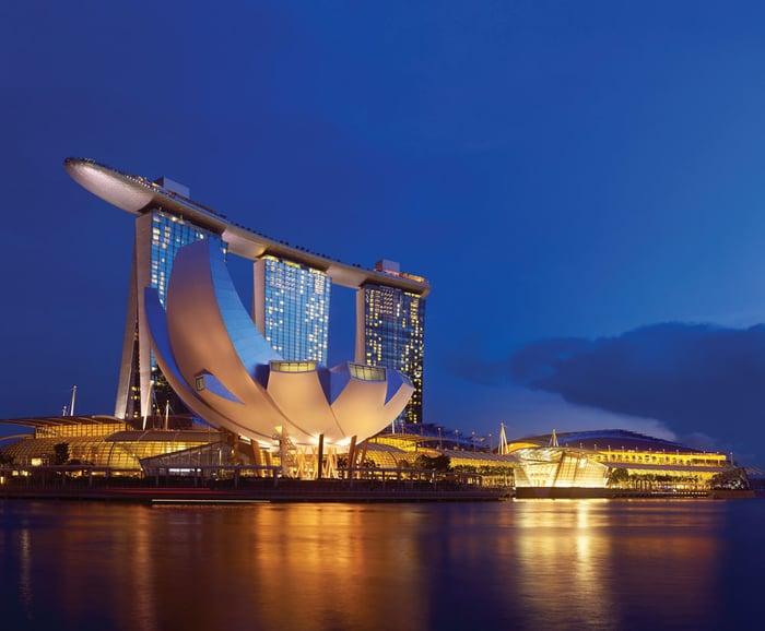 Exterior of Las Vegas Sands' Singapore casino resort Marina Bay Sands at night