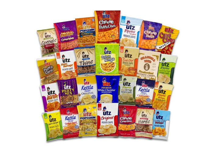 A selection of Utz snacks.